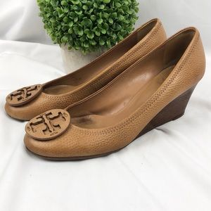 Tory Burch Sally leather stacked heels wedges